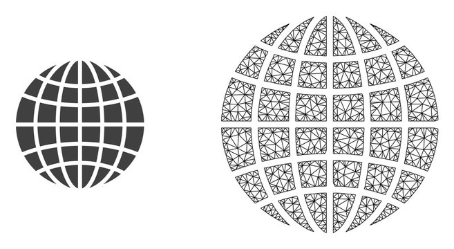 Polygonal mesh globe and flat icon are isolated on a white background. Abstract black mesh lines, triangles and nodes forms globe icon.