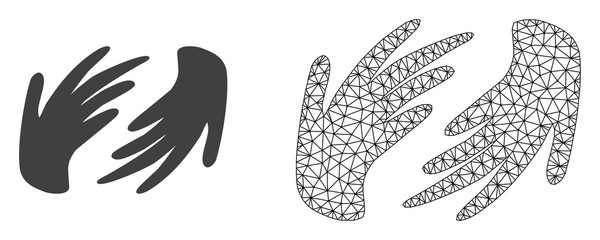 Polygonal mesh hands and flat icon are isolated on a white background. Abstract black mesh lines, triangles and dots forms hands icon.