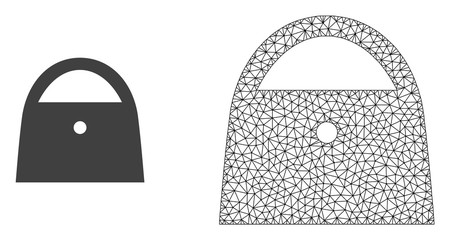 Polygonal mesh lady bag and flat icon are isolated on a white background. Abstract black mesh lines, triangles and nodes forms lady bag icon.