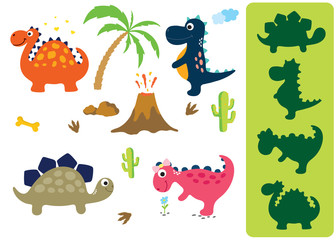 Find the correct shadow: Adorable dinosaurs isolated on white background