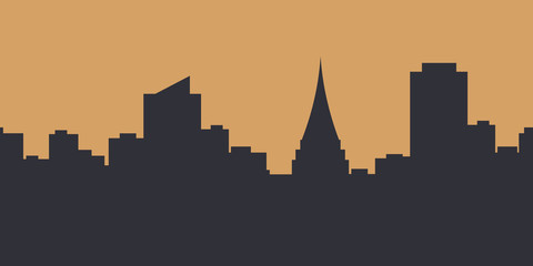 Metropolis background.Seamless border with cute urban landscape in dark blue color at dawn:silhouettes of modern houses, buildings and a Church or Cathedral on sand background.Vector illustration