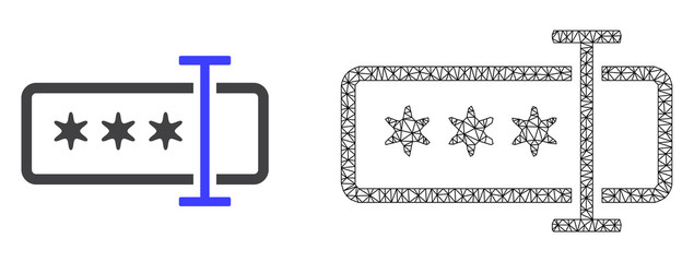 Polygonal mesh password field and flat icon are isolated on a white background. Abstract black mesh lines, triangles and nodes forms password field icon. Fotoväggar