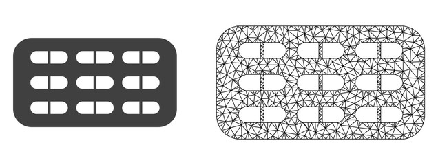 Polygonal mesh pill blister and flat icon are isolated on a white background. Abstract black mesh lines, triangles and dots forms pill blister icon.