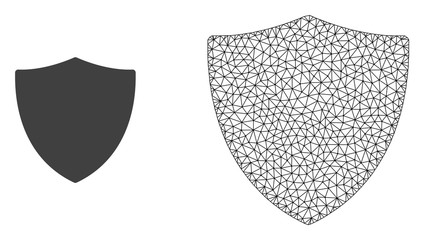 Polygonal mesh protection shiled and flat icon are isolated on a white background. Abstract black mesh lines, triangles and dots forms protection shiled icon.