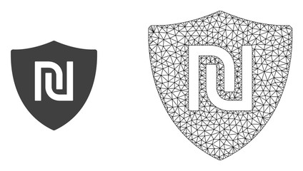 Polygonal mesh shekel guard and flat icon are isolated on a white background. Abstract black mesh lines, triangles and nodes forms shekel guard icon.