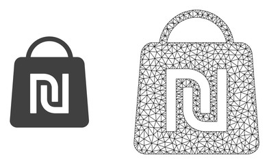 Polygonal mesh shekel shopping bag and flat icon are isolated on a white background. Abstract black mesh lines, triangles and dots forms shekel shopping bag icon.
