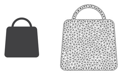 Polygonal mesh shopping bag and flat icon are isolated on a white background. Abstract black mesh lines, triangles and dots forms shopping bag icon.