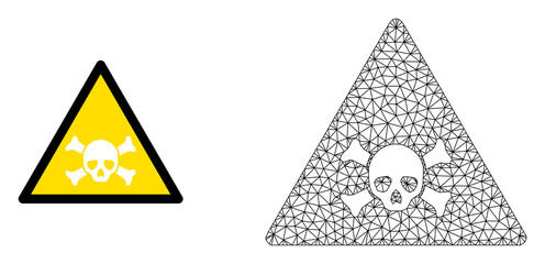 Polygonal mesh skull toxic warning and flat icon are isolated on a white background. Abstract black mesh lines, triangles and nodes forms skull toxic warning icon.