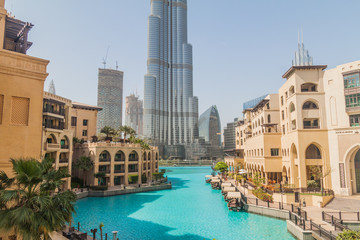 DUBAI, UAE - MARCH 12, 2017: Burj Al-Khalifa, the tallest building in the world as seen from Souk Al Bahar shopping mall, Dubai, UAE
