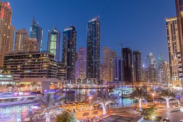 Evening view of Dubai Marina skyline, UAE