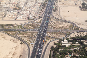Aerial view of a highway crossing in Kuwait city