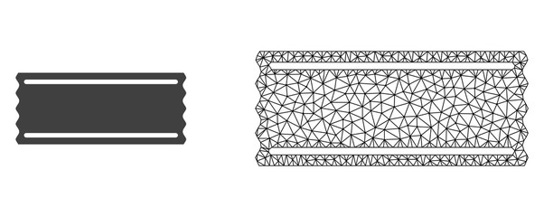 Polygonal mesh ticket tempalte and flat icon are isolated on a white background. Abstract black mesh lines, triangles and dots forms ticket tempalte icon.