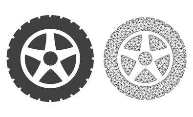 Polygonal mesh tire wheel and flat icon are isolated on a white background. Abstract black mesh lines, triangles and dots forms tire wheel icon.