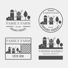 Farm House concept logo set. Template with farm landscape. Label for ,organic and natural farm products. Dark logotype isolated on grey background. Vector illustration.
