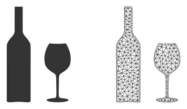 Polygonal mesh wine glassware and flat icon are isolated on a white background. Abstract black mesh lines, triangles and dots forms wine glassware icon.