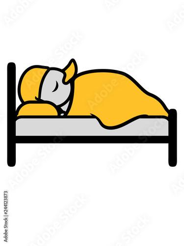 Nachts Im Bett Liegen Schlafen Mude Schlafmutze Abend Erholen