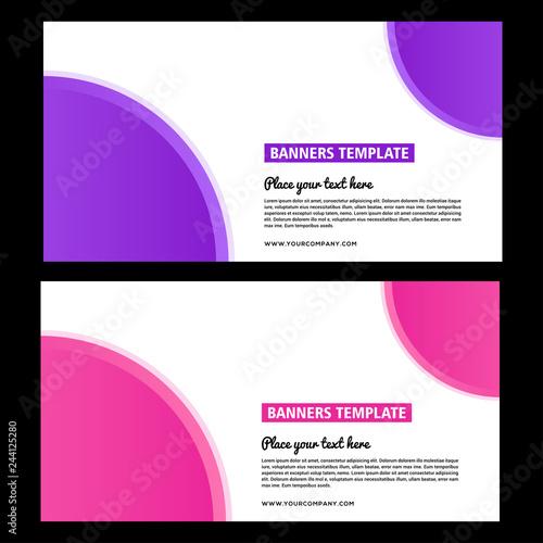 Purple banner design  Abstract poster set  Web banner