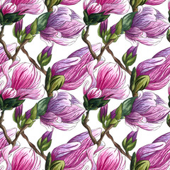 Watercolor seamless pattern of pink Magnolia flowers.