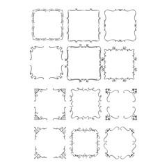 Vintage frames for your design. Hand drawn illustrations