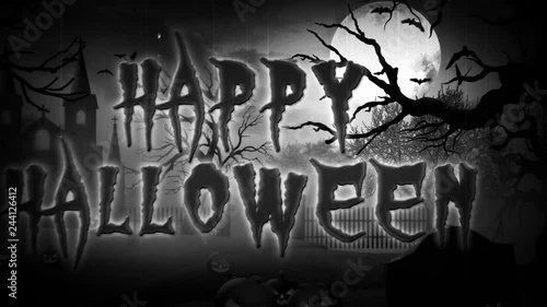 Happy Halloween Haunted Forest BW Retro 4K loop features a scary