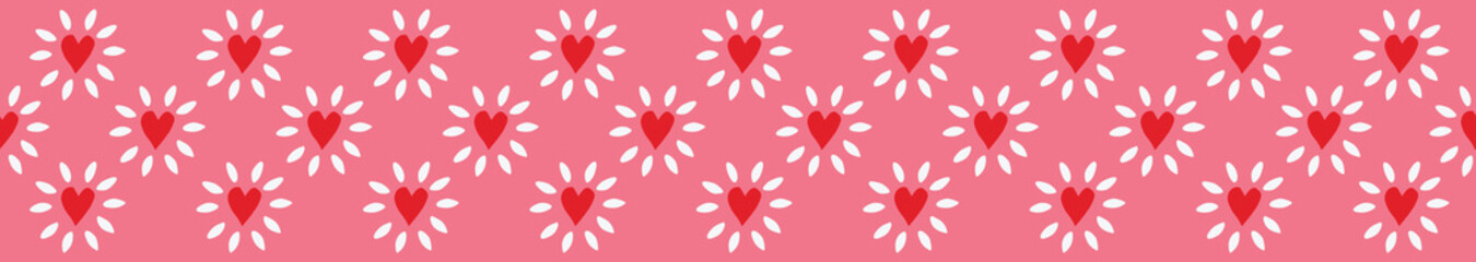 Charming repeat border of red, pink and white glowing hearts on seamless background. Perfect for textile edge designs, fashion, home decor, ribbon, banners, washi tape and tea towel borders.  Vector.