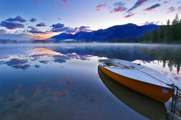 Overview of beautiful sunrise at Edith Lake, Jasper National Park, Alberta, Canada.
