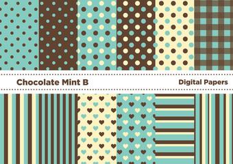 チョコミントカラーの壁紙セットB(グリーン系)