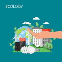 Ecology concept vector flat style design illustration