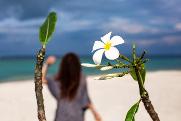 Frangipani flower and young woman on the beach