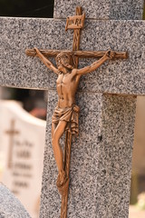 crucifix in the cemetery  in Bistrita  ,  ROMANIA,