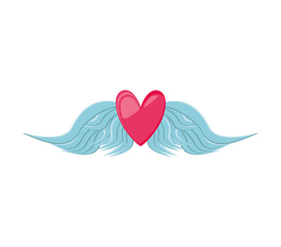 heart love with wings isolated icon