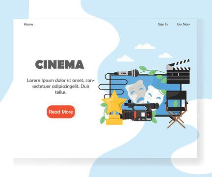 Cinema vector website landing page design template