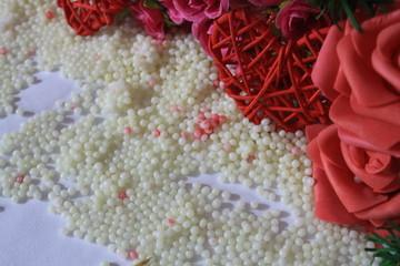 Photoshoot of flower and decoration valentine. Valentine's day