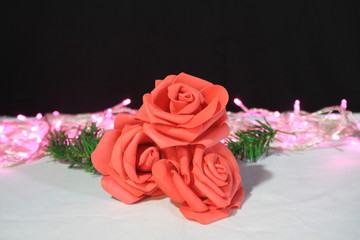Photoshoot of flower and lamp for decoration Valentine day