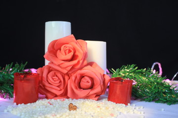 Photoshoot of flower, candle burning and lamp for decoration Valentine's