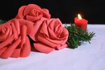 Flower and candle burning photoshoot. Valentine day