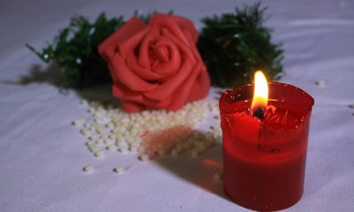 Greeting valentine day with photoshoot flower and candle burning