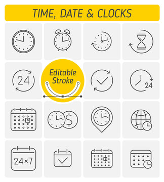 A clocks, watches, time outline icon set. The calendar, agenda, alarm line symbols. The time management, working hours, time zone, business around the clock concept linear icons with editable strokes.
