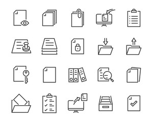 Fototapeta set of document icons, such as files, checkmark, find, search, paper