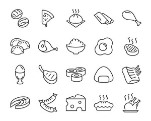 set of food icons ,such as sushi, rice, meat, boil egg, fish
