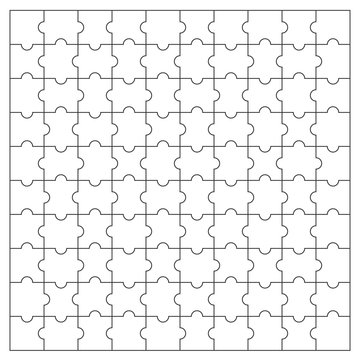 Puzzles pieces pattern. Jigsaw puzzle template.