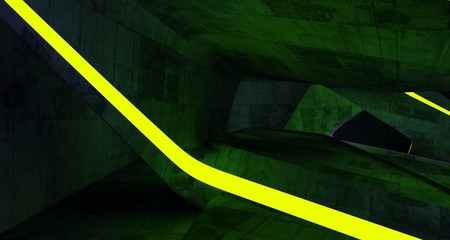 Abstract  Concrete Futuristic Sci-Fi interior With Pink And Yellow Glowing Neon Tubes . 3D illustration and rendering.