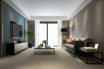 3d rendering luxury living room with wood floor and cabinet