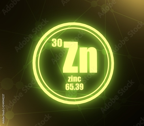 Zinc Chemical Element Sign With Atomic Number And Atomic Weight