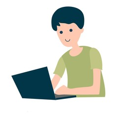 boy surfing internet on laptop. boy spending time online isolated on white background