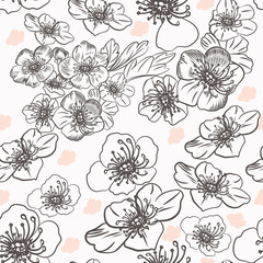 Fashion vector pattern with flowers in vintage style