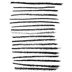 Chalk brushes set. Grunge stripes with chalk texture. Handdrawn design elements on white background. Vector illustration.