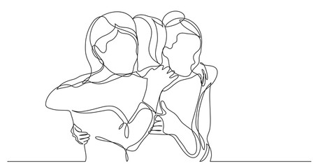 three female friends greeting hugging each other - one line drawing