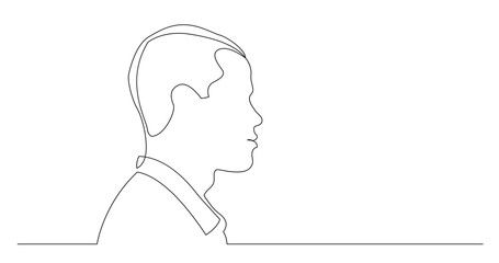 profile portrait of young black man thinking smiling - continuous line drawing on white background