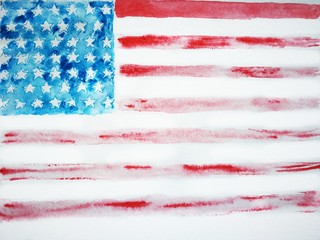 American flag watercolor , typography on independence day, USA, Watercolor sketch